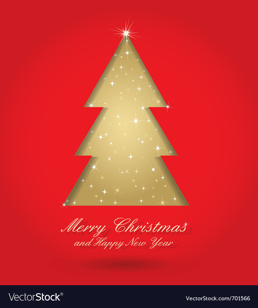 Red and gold christmas tree vector | Price: 1 Credit (USD $1)