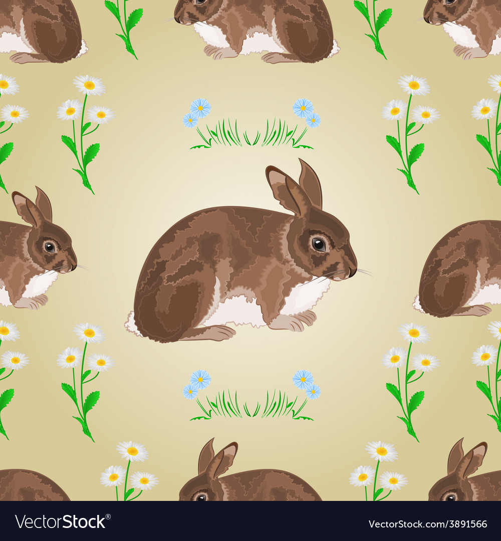 Seamless texture rabbit and spring flowers vector | Price: 1 Credit (USD $1)