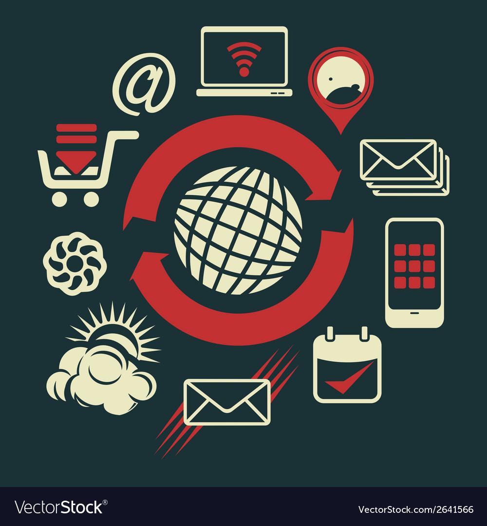 Social network plavo vector | Price: 1 Credit (USD $1)