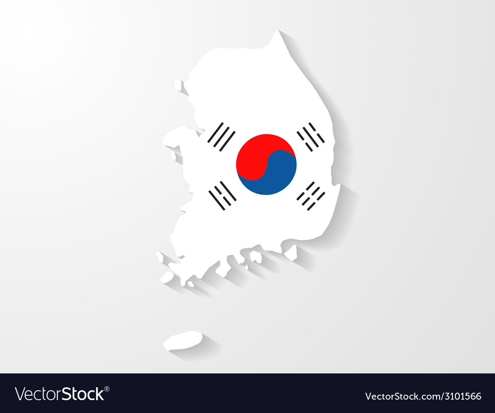 South korea flag map with shadow effect vector | Price: 1 Credit (USD $1)