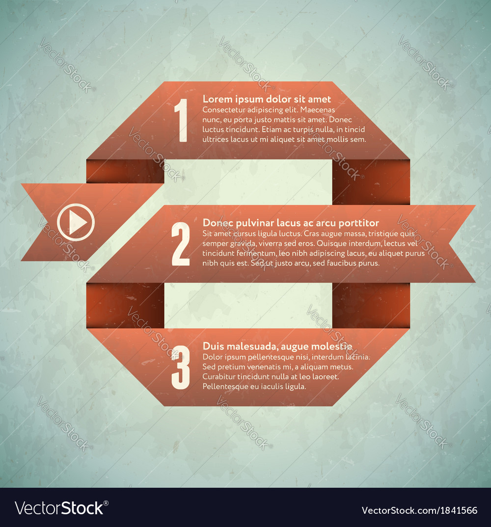Vintage grungy card with looped infographic vector | Price: 1 Credit (USD $1)