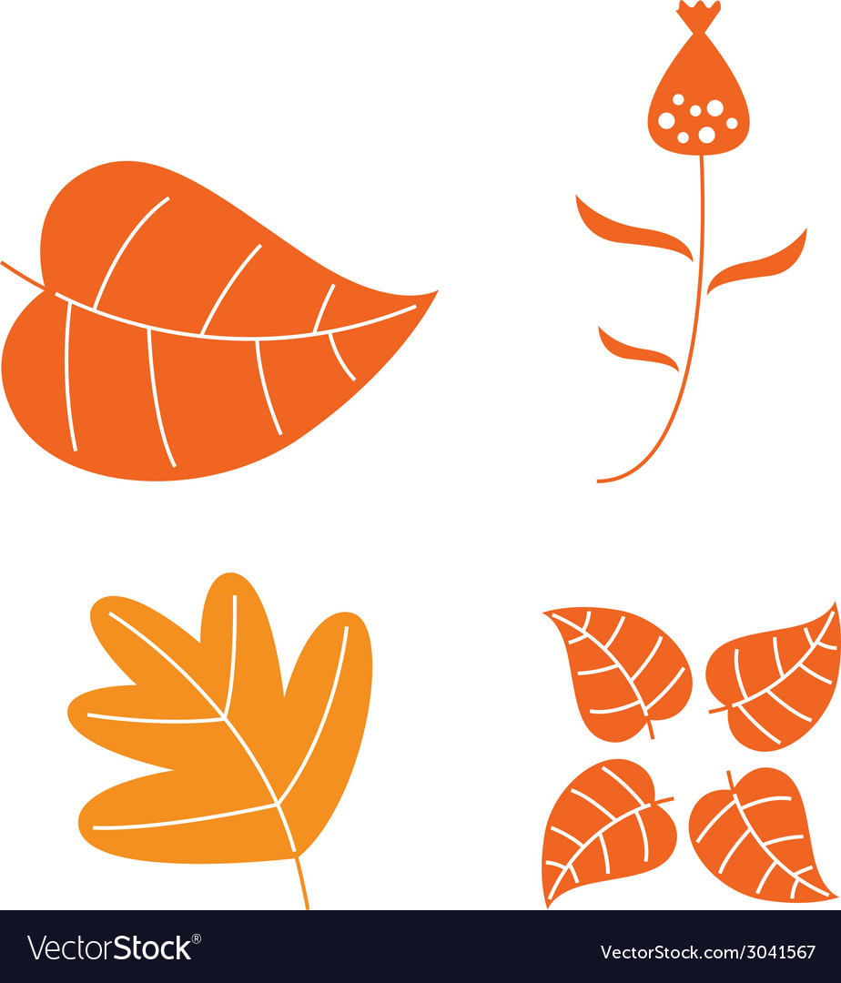 Autumn leaves set isolated on white vector | Price: 1 Credit (USD $1)