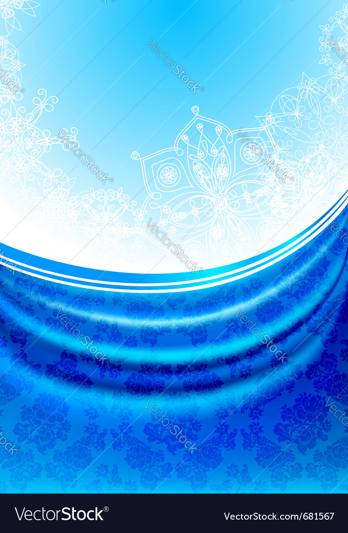 Blue fabric curtain white snowflakes background vector | Price: 1 Credit (USD $1)