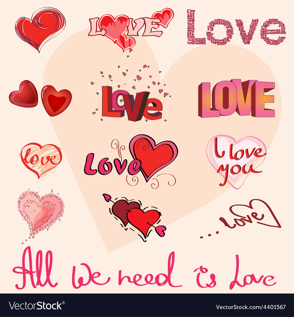 Different hearts and hand writing of love elements vector | Price: 1 Credit (USD $1)