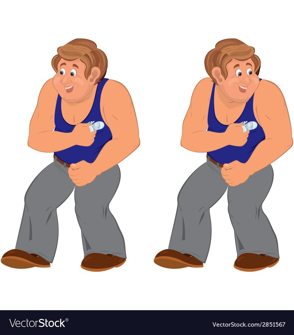 Happy cartoon man standing in blue sleeveless top vector | Price: 1 Credit (USD $1)