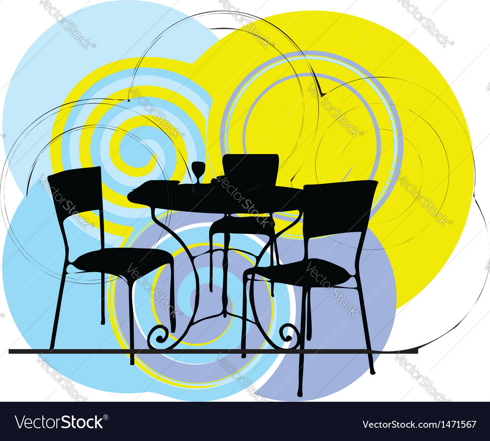 Interior design scene table and chairs vector | Price: 1 Credit (USD $1)