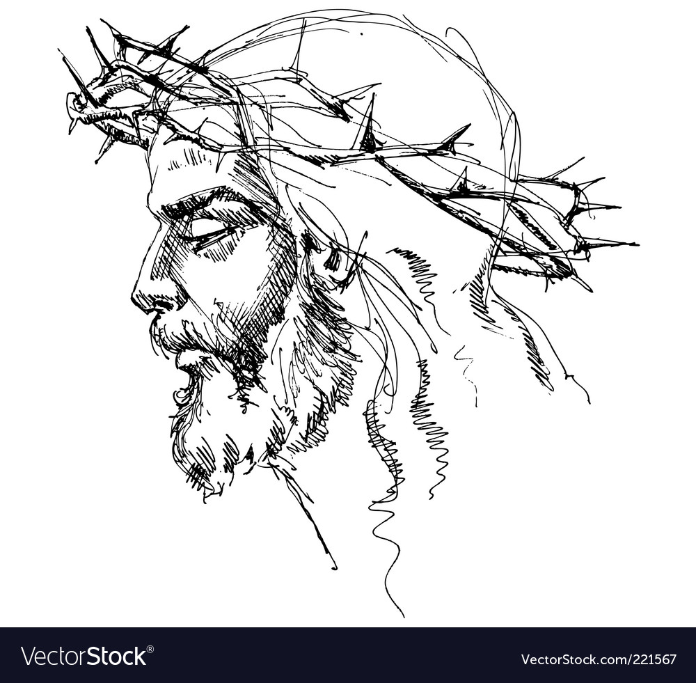 Jesus christ sketch vector | Price: 1 Credit (USD $1)