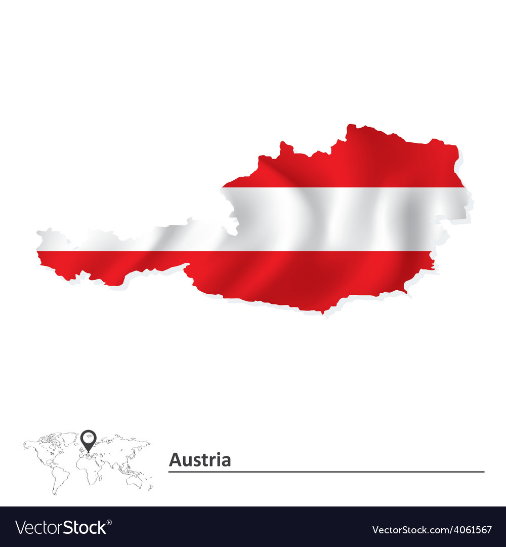 Map of austria with flag vector | Price: 1 Credit (USD $1)