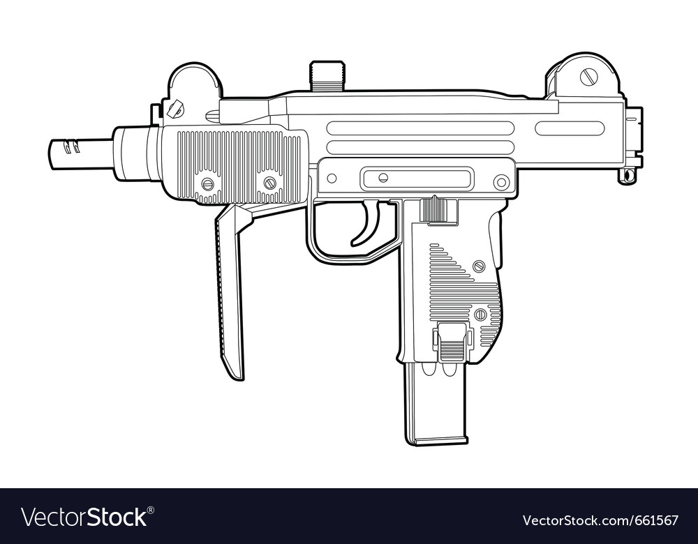 Outline uzi vector | Price: 1 Credit (USD $1)