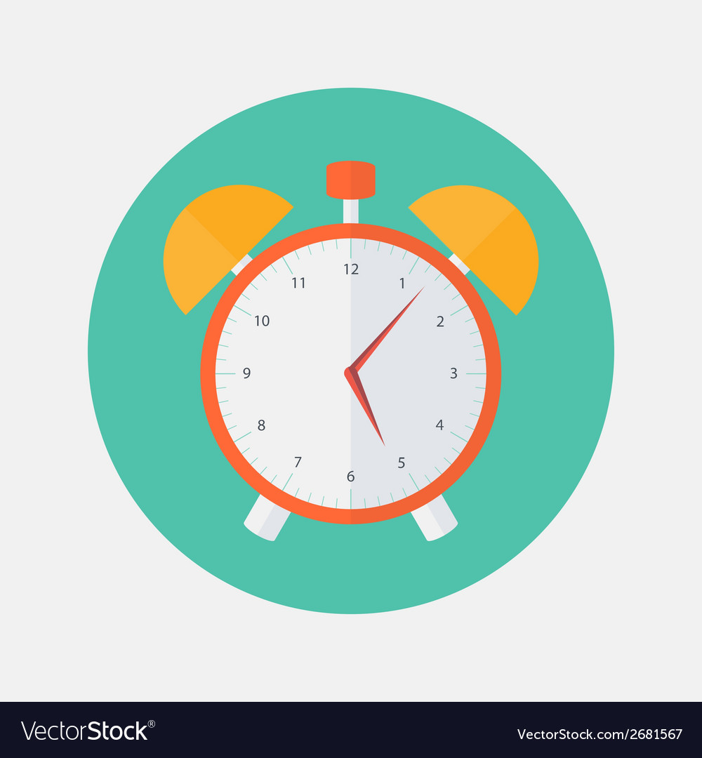 Red and yellow alarm clock flat icon vector | Price: 1 Credit (USD $1)
