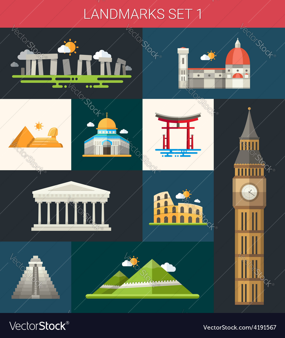 Set of flat design famous world landmarks icons vector | Price: 1 Credit (USD $1)