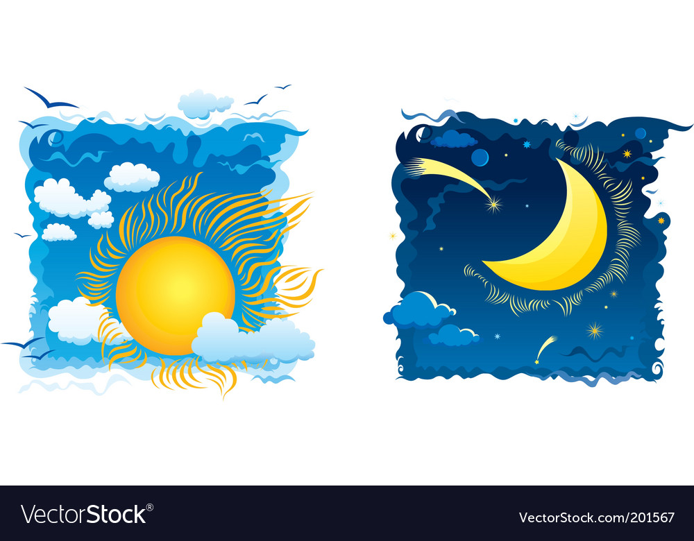 Sunny day and moonlit night vector | Price: 3 Credit (USD $3)