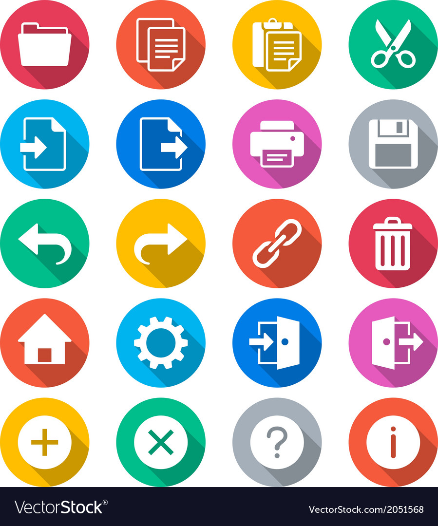Application toolbar flat color icons vector | Price: 1 Credit (USD $1)