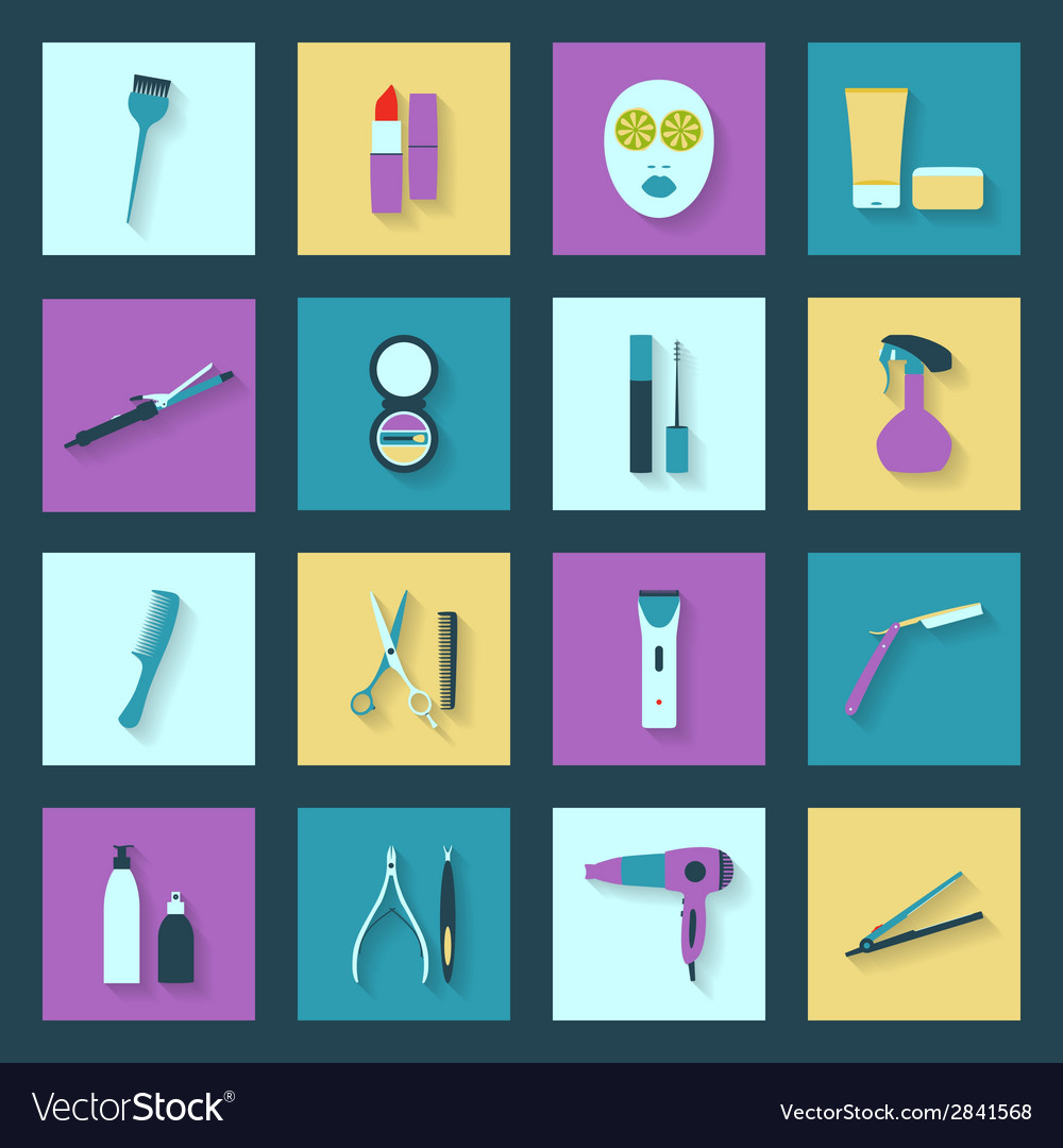 Beauty salon flat icons set vector | Price: 1 Credit (USD $1)