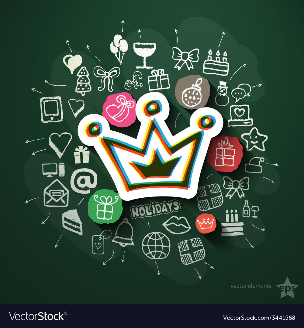 Celebration collage with icons on blackboard vector | Price: 3 Credit (USD $3)