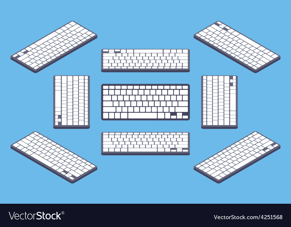 Isometric generic black computer keyboard with vector | Price: 1 Credit (USD $1)