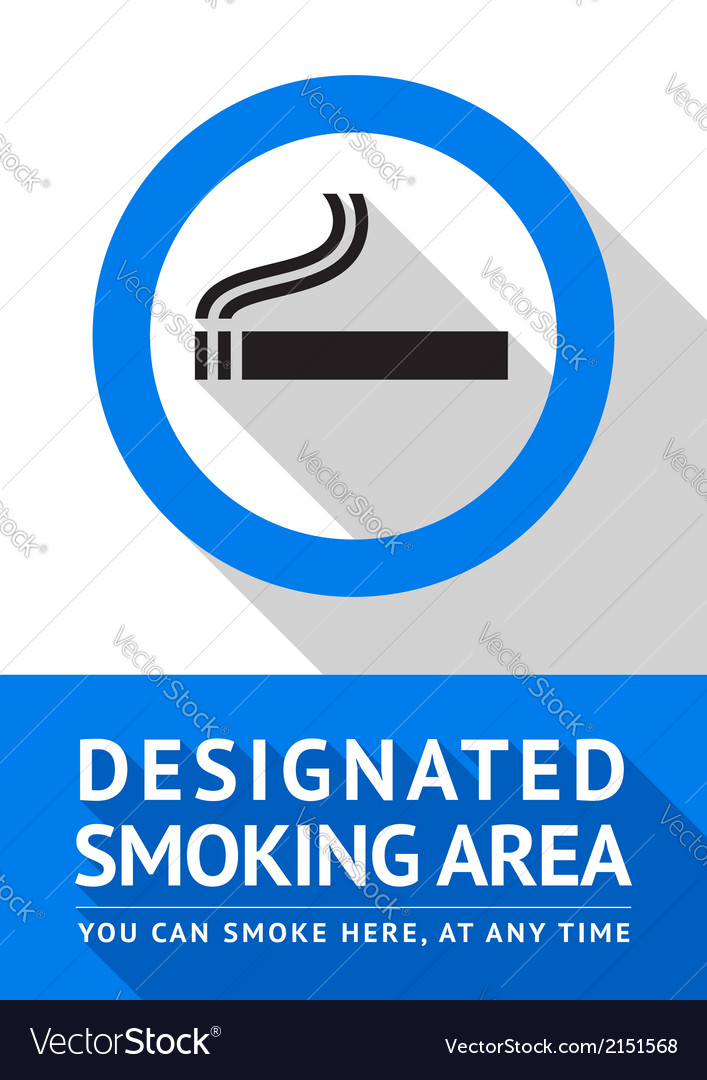 Label smoking area sticker flat design vector | Price: 1 Credit (USD $1)
