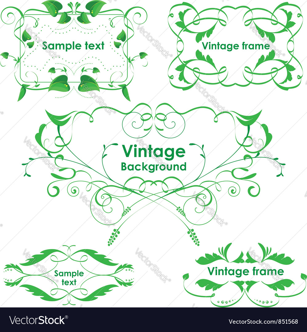 Leaves frames - set design elements vector | Price: 1 Credit (USD $1)
