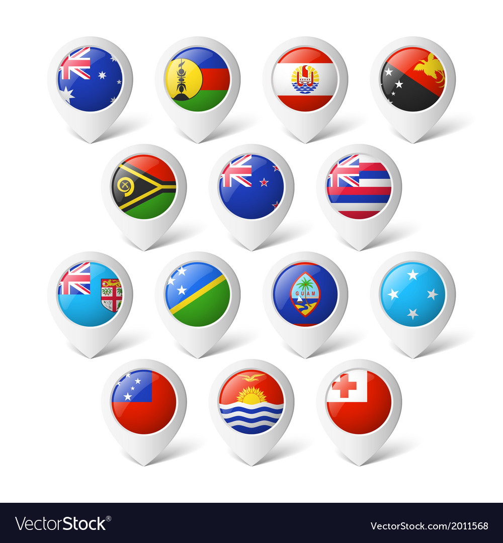 Map pointers with flags oceania vector | Price: 1 Credit (USD $1)
