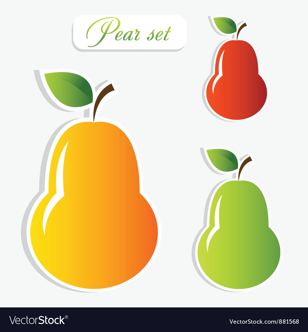 Pear stickers set vector | Price: 1 Credit (USD $1)