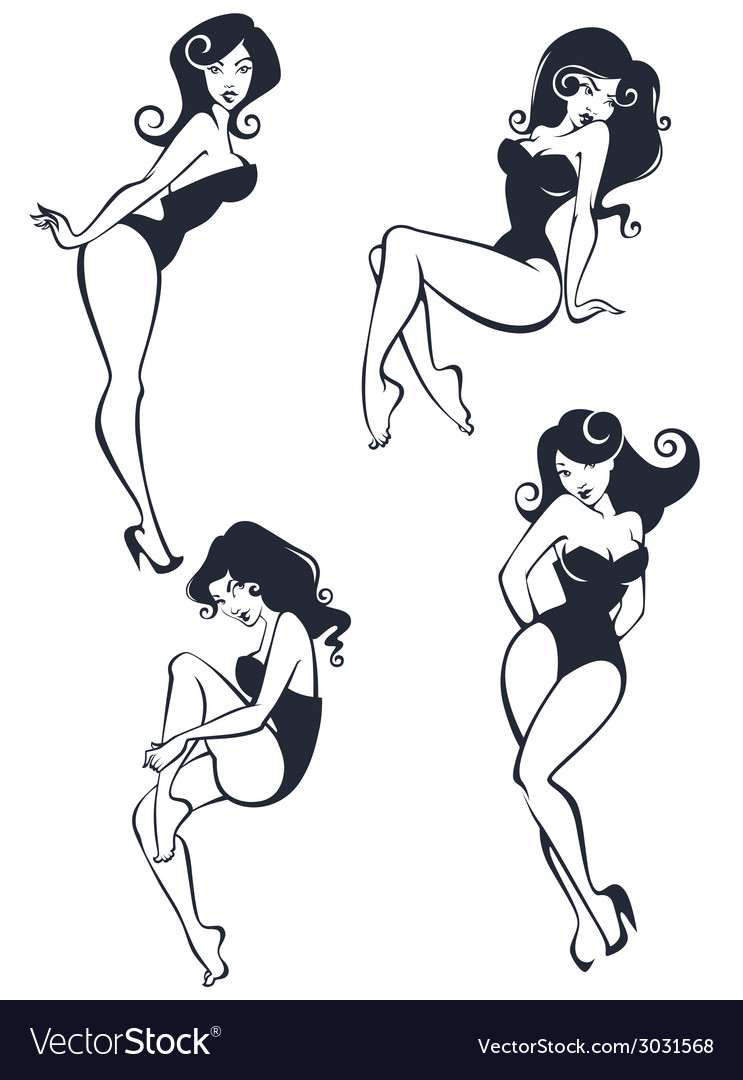 Pinup girls collection vector