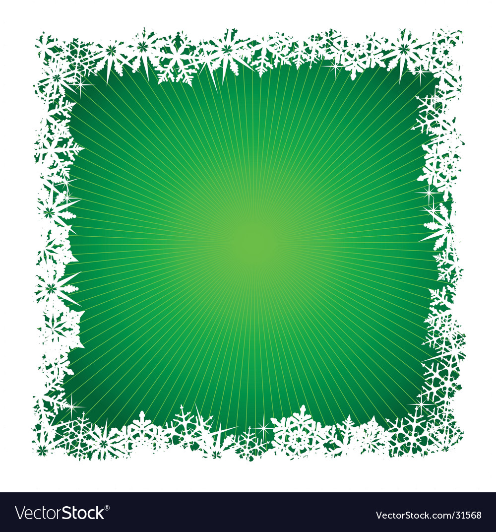 Square green snowflake background vector | Price: 1 Credit (USD $1)