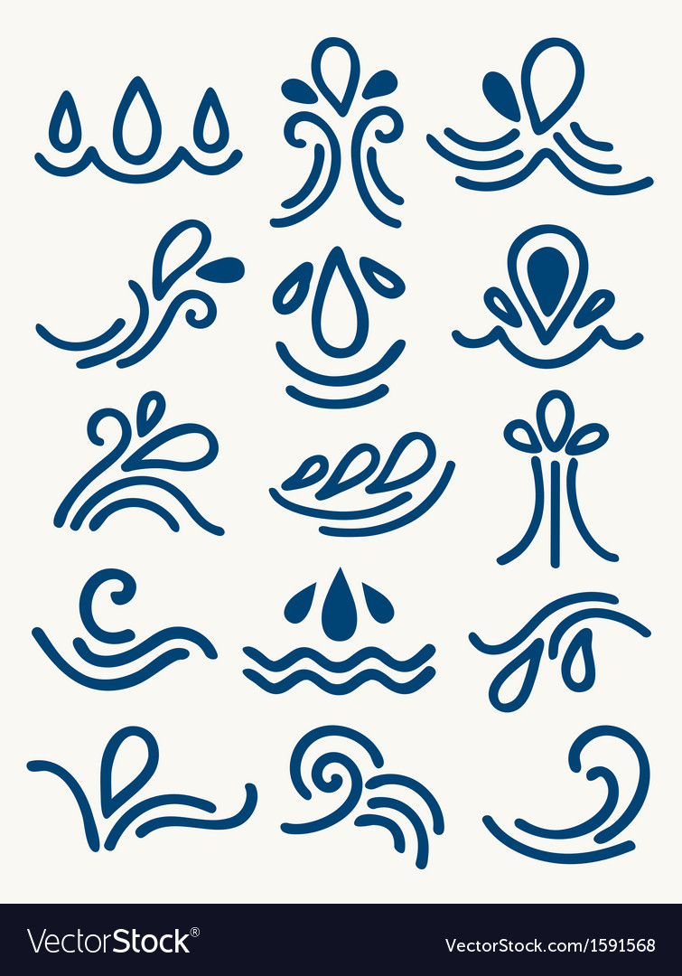 Stylized drawings of water vector | Price: 1 Credit (USD $1)