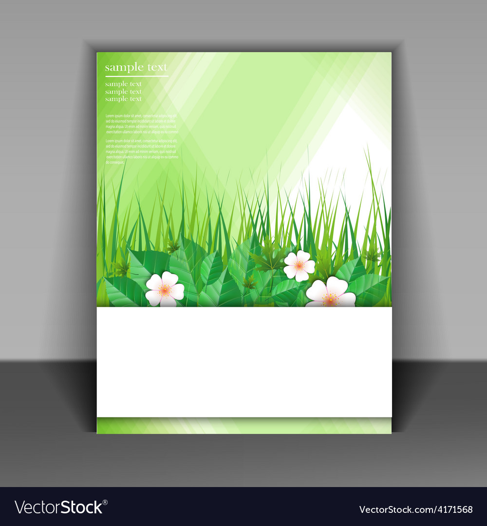 Template booklet with grass and green leaves vector | Price: 3 Credit (USD $3)
