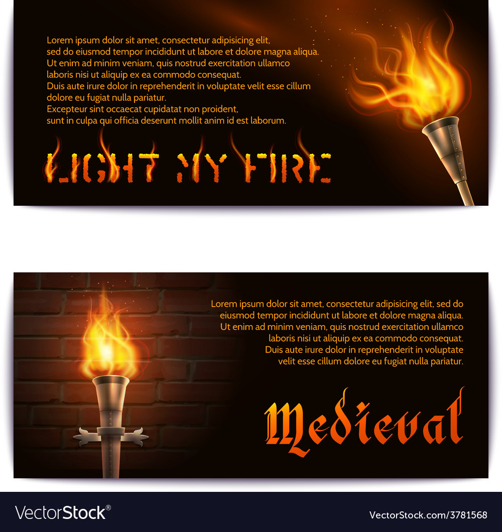 Torch banners set vector | Price: 1 Credit (USD $1)