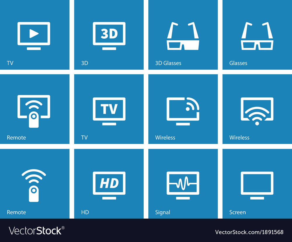 Tv icons on blue background vector | Price: 1 Credit (USD $1)