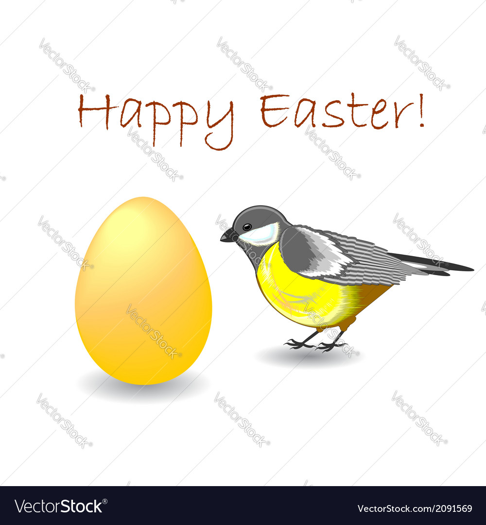 A cute titmouse bird with a colorful easter egg vector | Price: 1 Credit (USD $1)