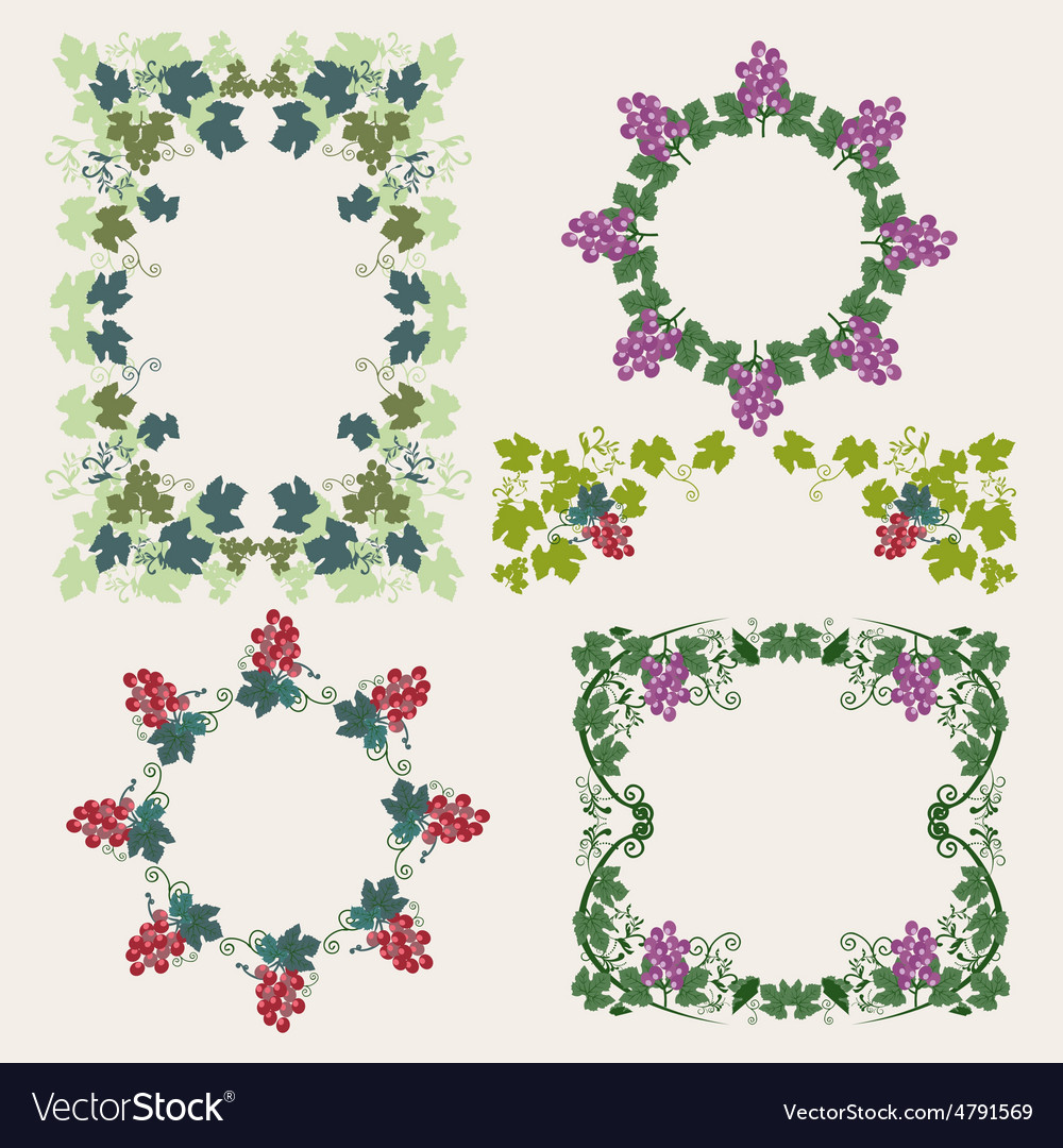 Decorative frame with grapes vector | Price: 1 Credit (USD $1)