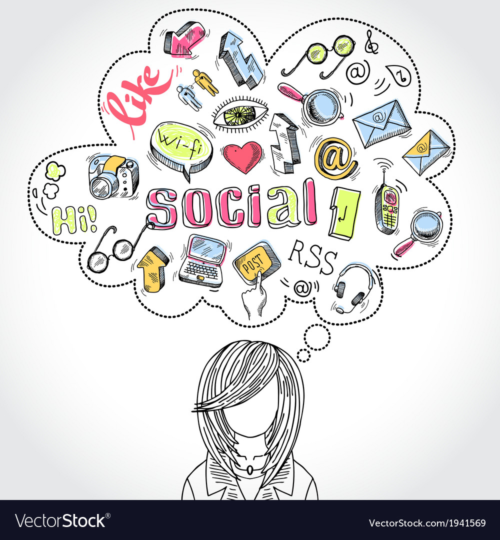 Doodle social media dreams and thoughts vector | Price: 1 Credit (USD $1)