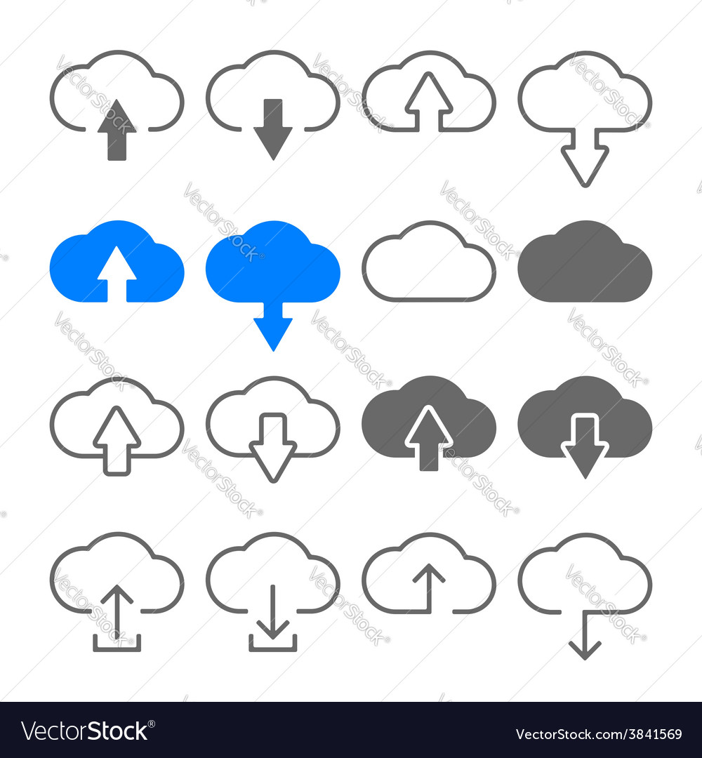 Download upload cloud icons set vector | Price: 1 Credit (USD $1)