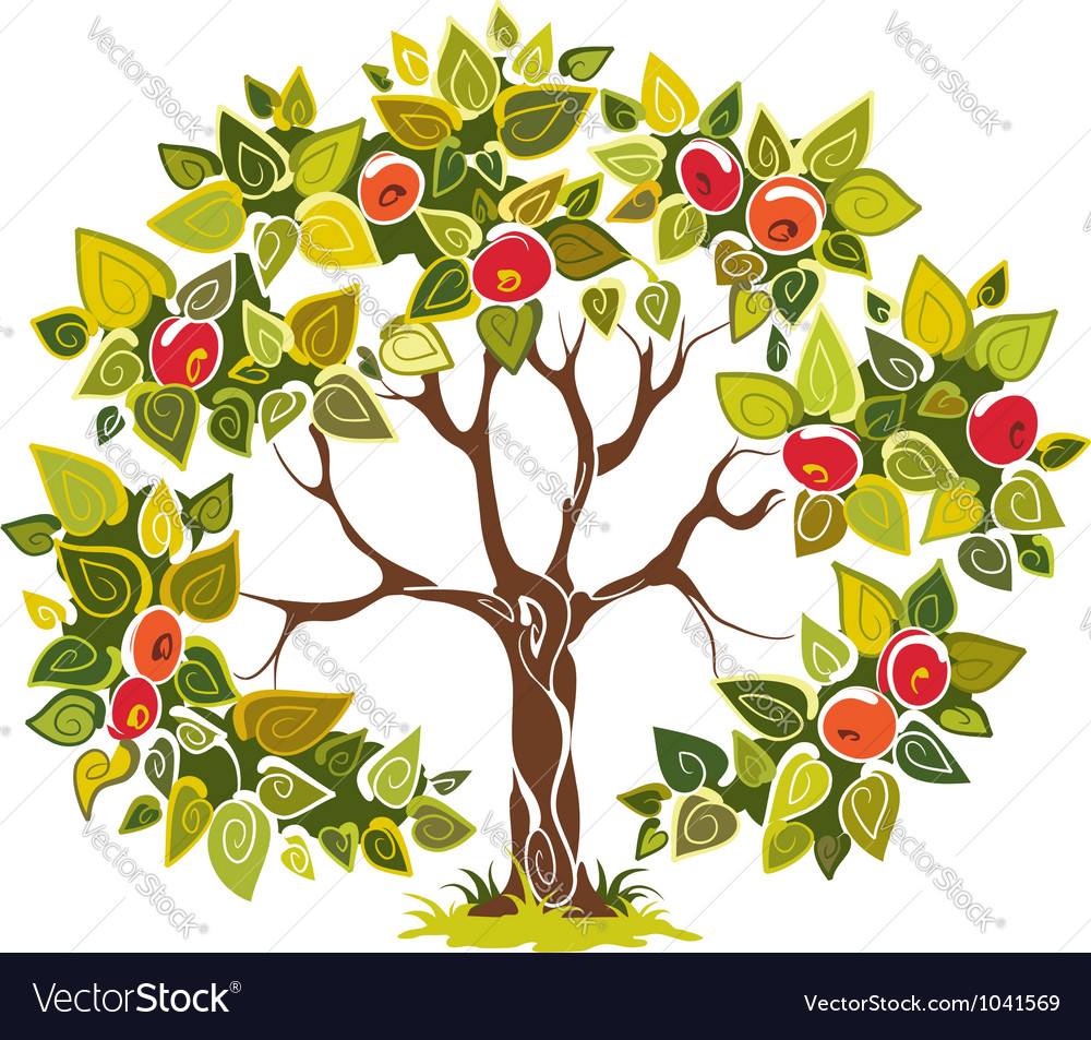 Fruitful apple tree vector | Price: 1 Credit (USD $1)