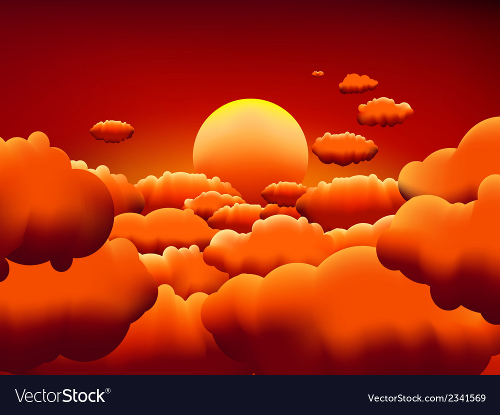 Golden sunset clouds background eps8 vector | Price: 1 Credit (USD $1)