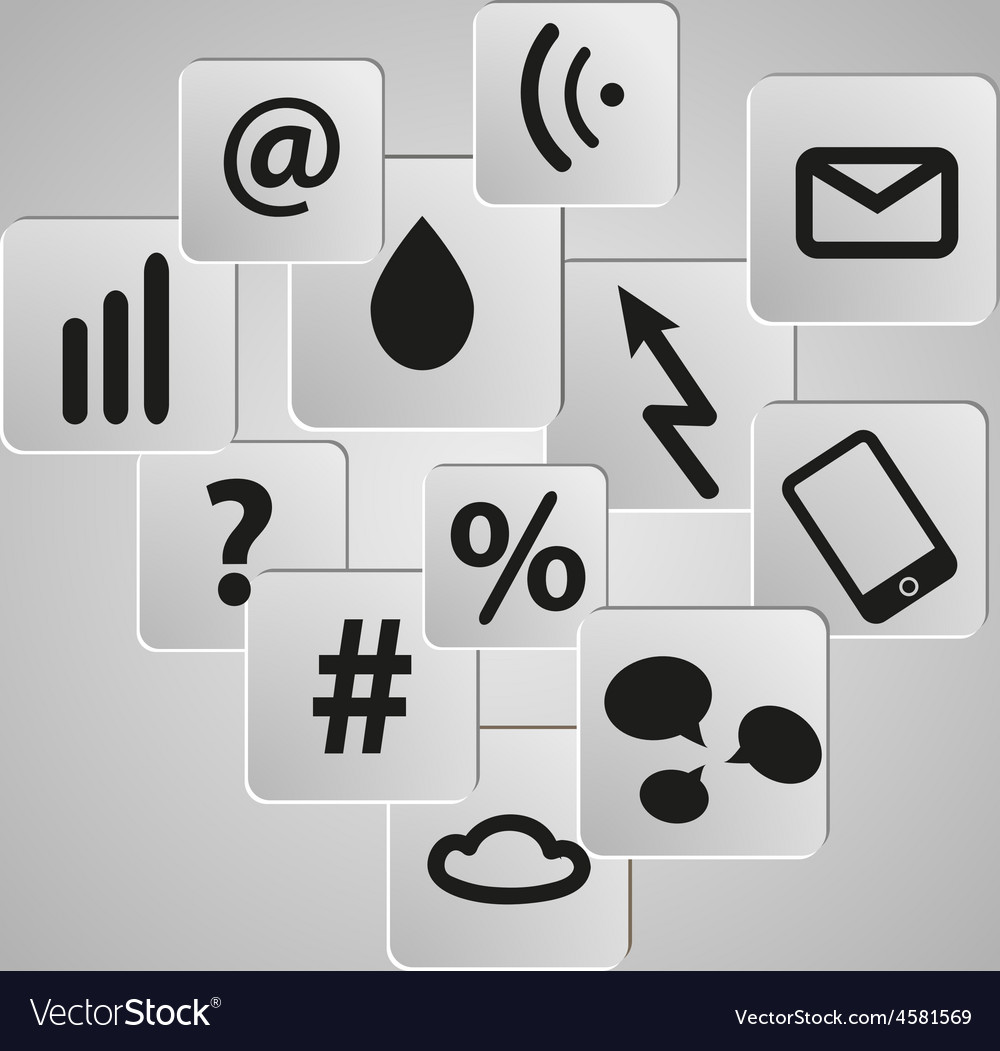 Icons background set telecommunication vector | Price: 1 Credit (USD $1)