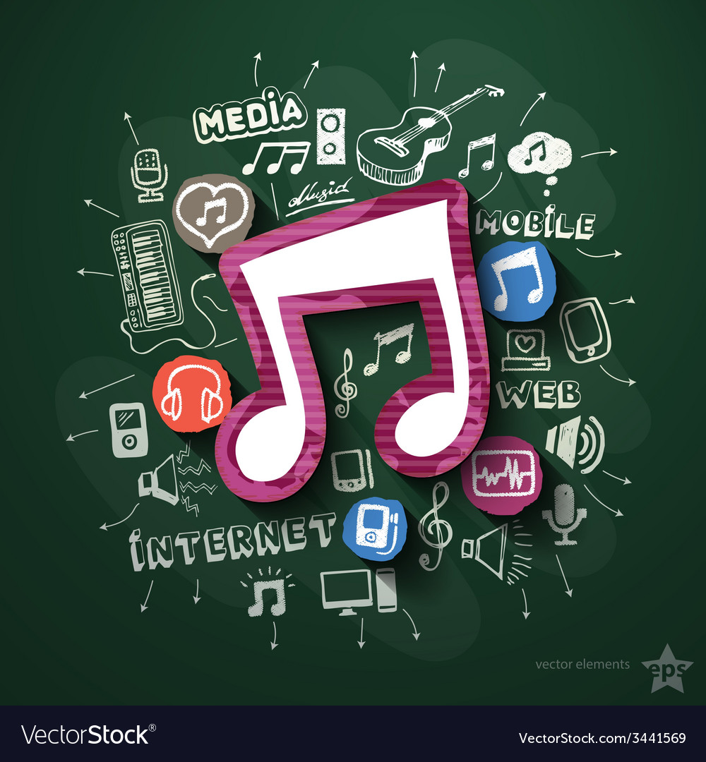 Music and entertainment collage with icons on vector | Price: 3 Credit (USD $3)