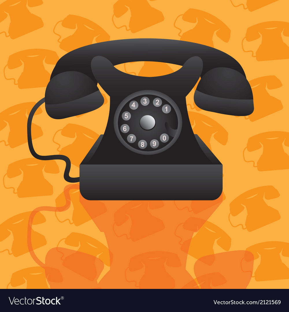 Old telephone on background pattern of silhouettes vector | Price: 1 Credit (USD $1)