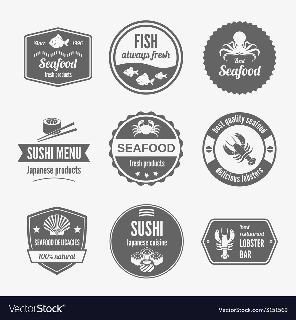 Seafood label set black vector | Price: 1 Credit (USD $1)