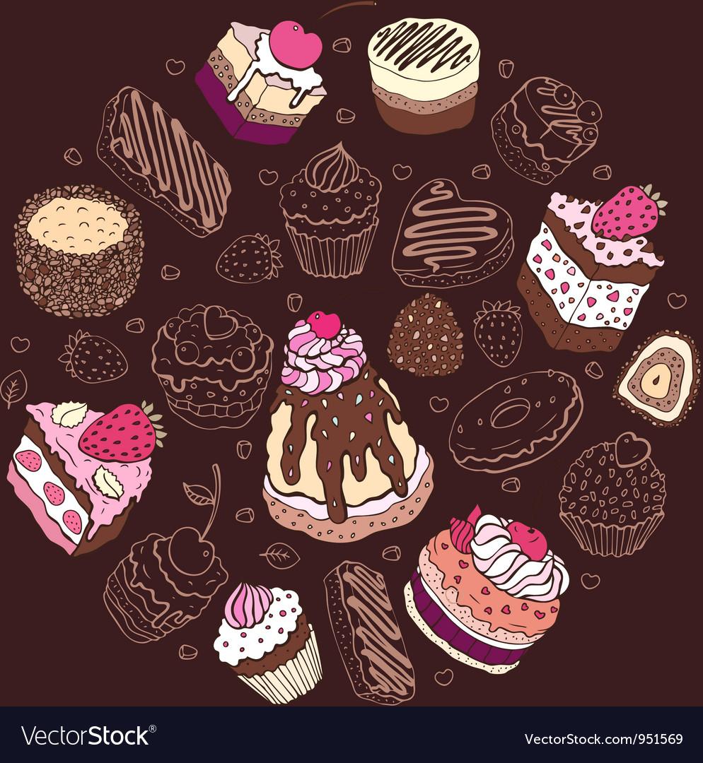 Set of cute cake vector | Price: 3 Credit (USD $3)
