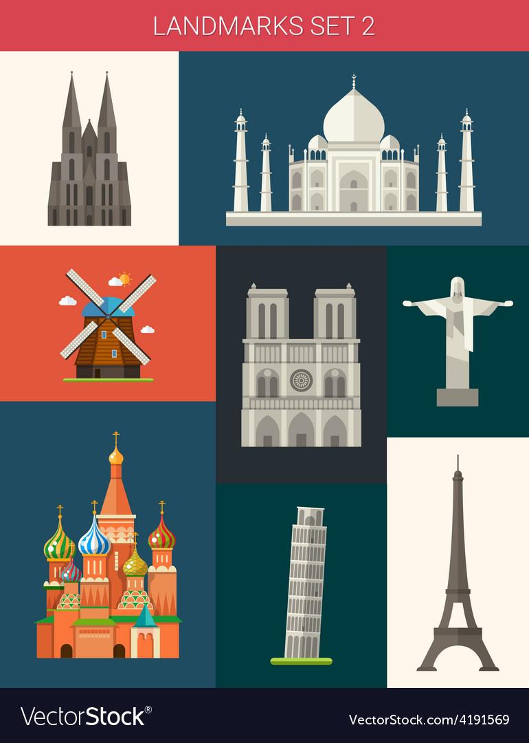 Set of flat design famous world landmarks icons vector | Price: 1 Credit (USD $1)