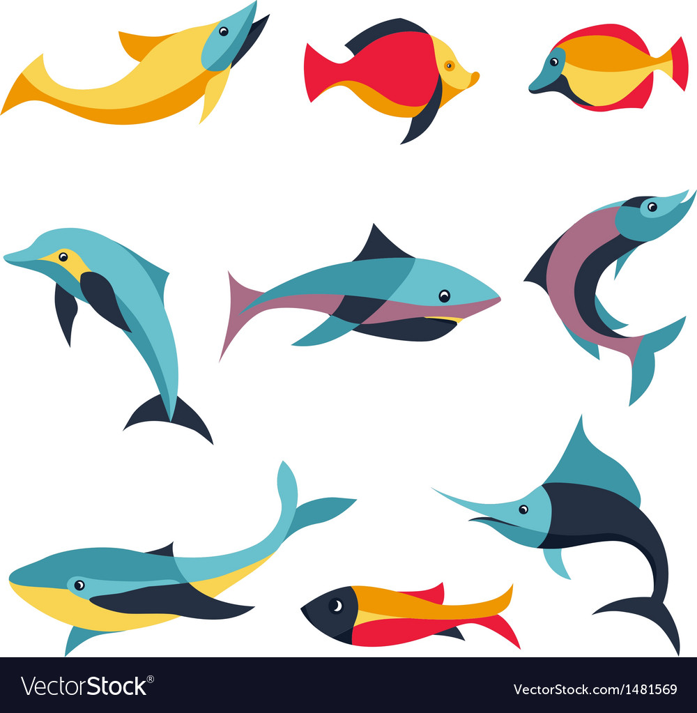 Set of logo design elements - fishes signs vector | Price: 1 Credit (USD $1)