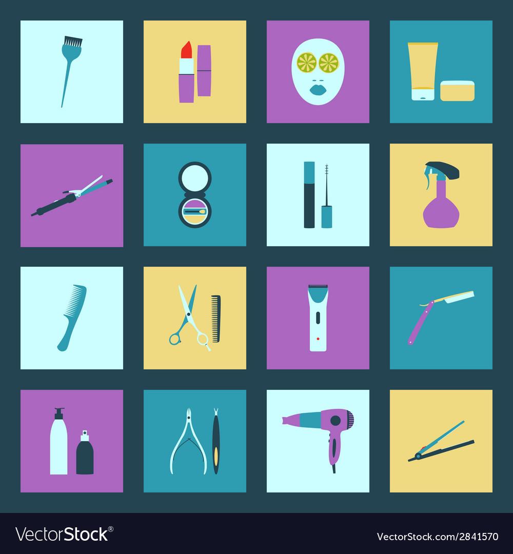 Beauty salon flat icons set vector | Price: 1 Credit (USD $1)