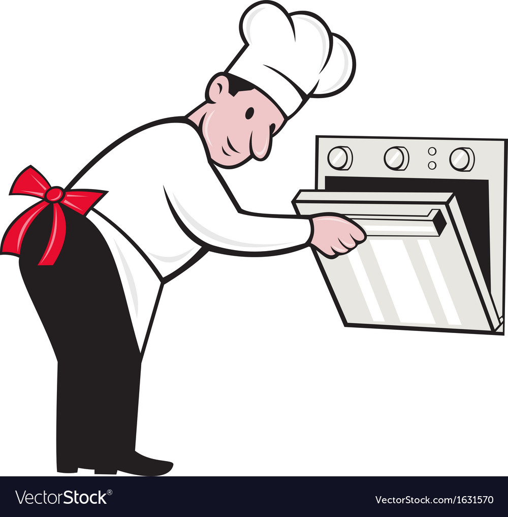 Cartoon chef baker cook opening oven vector | Price: 1 Credit (USD $1)