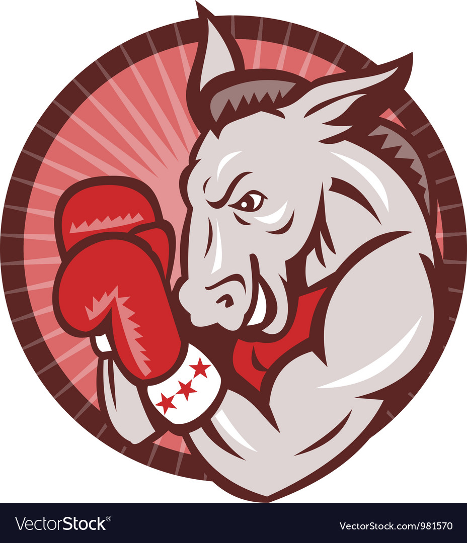 Democrat donkey mascot boxer boxing retro vector | Price: 1 Credit (USD $1)