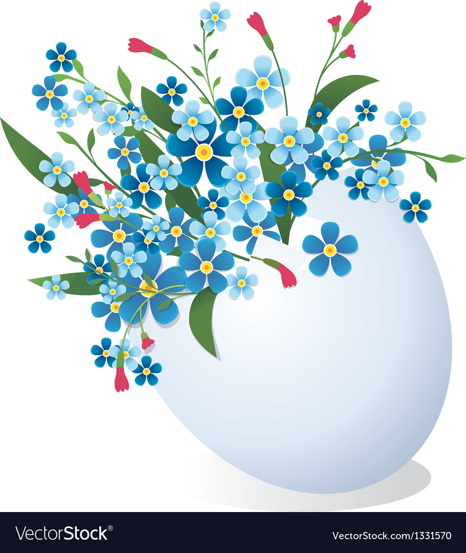 Easter egg with flowers vector | Price: 1 Credit (USD $1)