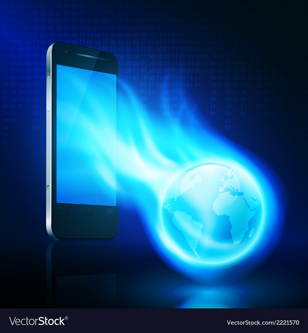 Flying flaming the globe from mobilephone vector | Price: 1 Credit (USD $1)