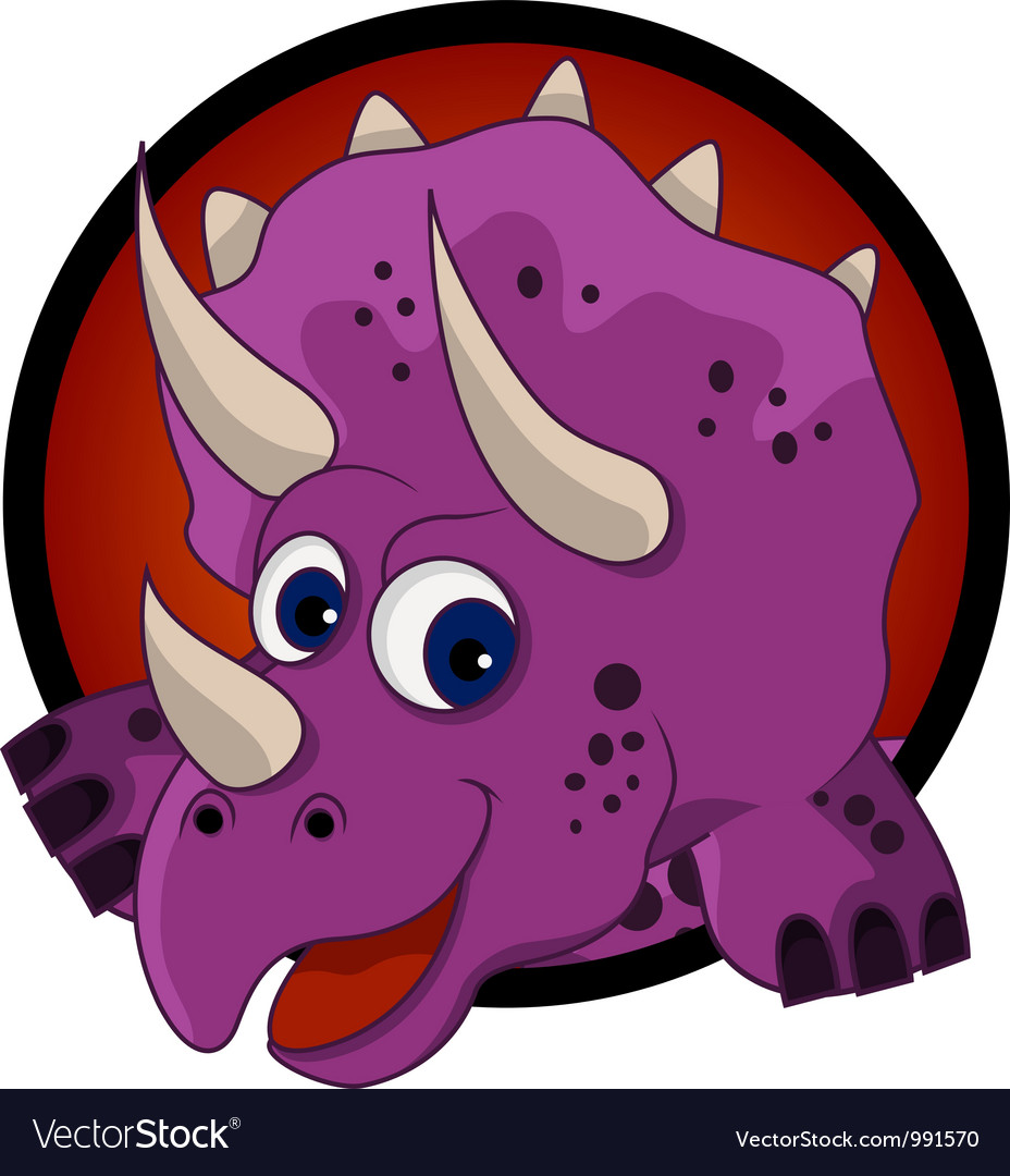Funny dinosaur head cartoon vector | Price: 3 Credit (USD $3)