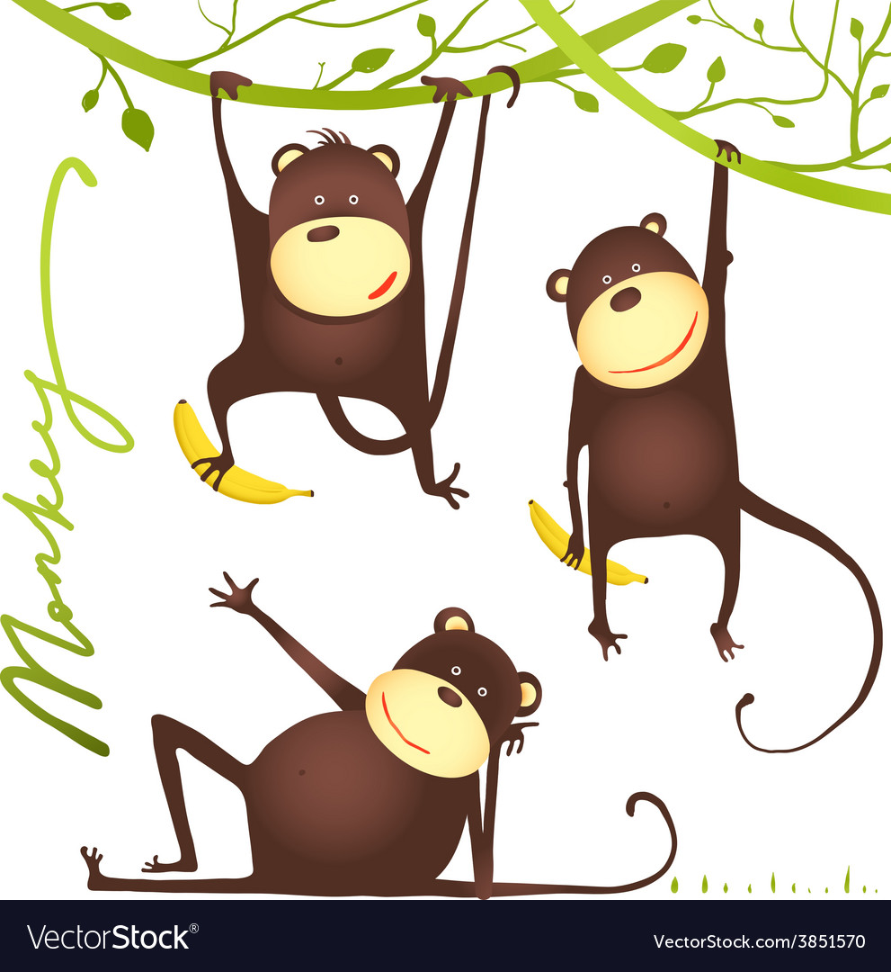 Monkey fun cartoon hanging on vine with banana vector | Price: 1 Credit (USD $1)